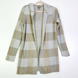 Chico's Womens Checked Long Sleeve Hooded Cardigan